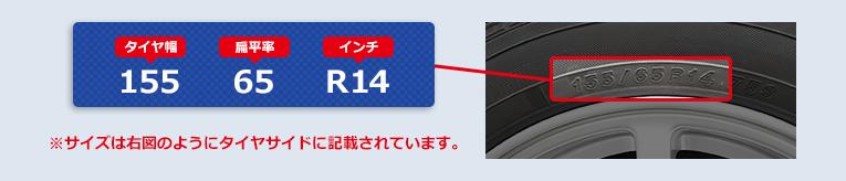 ※サイズは右図のようにタイヤサイドに記載されています。