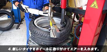 新しいタイヤをホイールに取り付けてエアーを入れます。