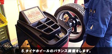 タイヤホイールのバランス調整をします。